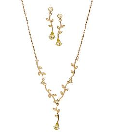 Look what I found on #zulily! Rhinestone & Goldtone Leaf Pendant Necklace & Earrings #zulilyfinds