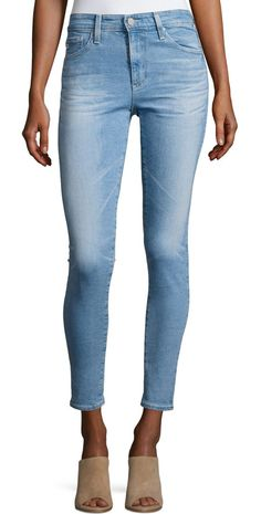 """Farrah Skinny Ankle Denim Jeans by AG Adriano Goldschmied. AG """"Farrah"""" jeans in faded light-wash indigo denim. Approx. measurements: 27"""" inseam; 36"""" outseam. Five-pocket style;..."""