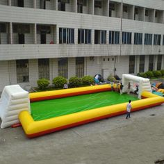 The products are made by Holleyweb Inflatable Equipment Ltd. Inflatable soccer fieldinflatable football game Features and specifications: Type:Inflatable soccer field from commerical use inflatables ...