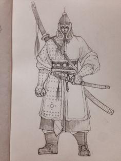 두정갑 입은 조선 무사 쌍수도와 환도로 무장한 주인공 캐릭터