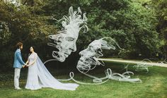 British artist Benjamin Shine creates beautiful sculptures from tulle fabrics. He arranges an immense amount of material so that it forms an abstract faces. Each piece of his work of art is carefully developed by Benjamin Shine, 1st Wedding Anniversary, Wedding Vows, Wedding Day, Trendy Wedding, Wedding Photos, Ribbon Sculpture, Sculpture Art, Abstract Faces