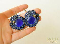 Blue soutache earrings Cat eye earrings Women accessory por pUkke