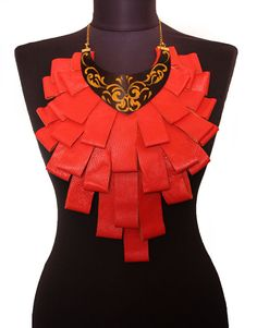 Statement Genuine Leather Red Corai Neckalce by EtnoWareStore,