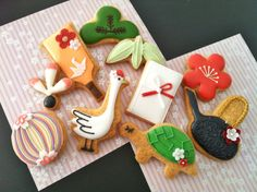 Japanese New Year's Cookies - C bon bon icing cookies Fancy Cookies, Sweet Cookies, Iced Cookies, Cute Cookies, Sugar Cookies, Sweet Treats, Japanese Cookies, Japanese Sweets, Japanese Food
