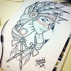 61 Ideas Tattoo Traditional Indian For 2019 Native American Drawing, Native American Tattoos, Native Tattoos, Trendy Tattoos, Girl Tattoos, Tatoos, Desenho Tattoo, Tattoo Stencils, Neo Traditional Tattoo