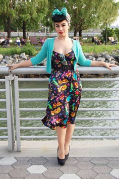 Betsy Johnson tattoo printed dress, Betsey Babe turqouise cardigan, vintage scarf and prada glasses