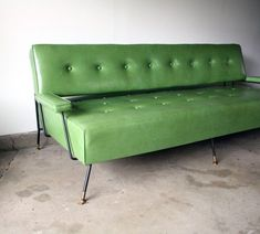1960s Green Vinyl Sofa/Daybed. – Manly Vintage - reminds me of the one Mamaw had except it was orangish. @Laurie
