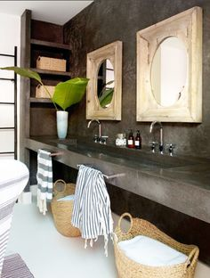 concrete sink, counter, backsplash, shelves - maybe with pebble wall instead??