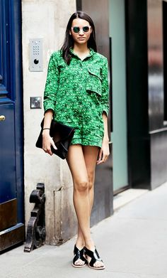 Patterned green romper with mod sunglasses and black strappy sandals