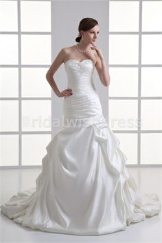 Beading A-Line Hourglass Sweetheart Court Train Embellished Wedding Dresses