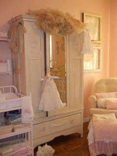Shabby vintage baby room. Have this armoire.