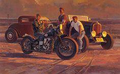 Tom Fritz. Motorcycle Posters, Motorcycle Art, Bike Art, Knucklehead Motorcycle, David Mann Art, Hd Vintage, Harley Davidson Art, Old Motorcycles, Car Drawings