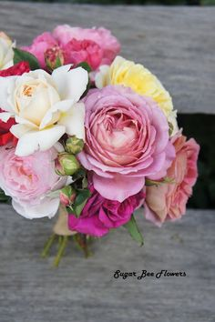 Old English rose / David Austin rose bouquet - in pinks, cream, apricot, yellow and red