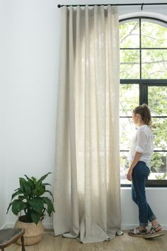 Affordable, custom linen curtains available online – The Interiors Addict - Modern Ikea Curtains, Home Curtains, Curtains Living, Custom Curtains, Curtains With Blinds, Window Blinds, White Linen Curtains, Large Curtains, Floral Curtains