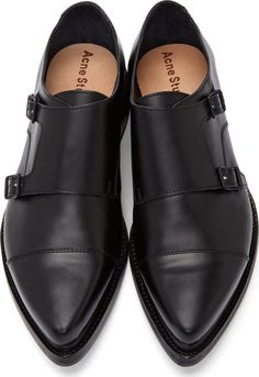 Acne Studios Black Leather Penn Monk Shoes