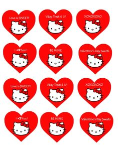 Valentine's Day activities for kids and family inspired by Hello Kitty including Cupcake Toppers. Hello Kitty Theme Party, Hello Kitty Cupcakes, Hello Kitty Themes, Kitty Party, Valentine Cake, Cat Valentine, Valentines Day Activities, Activities For Kids, Printed Materials