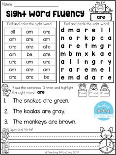 FREE SIGHT WORD FLUENCY ACTIVITIES *Each page is focused on one sight word. *Students find and color the sight word. *Students search the sight word and circle the sight word. (SIGHT WORD SEARCH) *Spin and Write - Students spin a paper clip and write the sentences. *Students read the sentences three times. Kindergarten Printables. Freebies. Kindergarten sight words. Kindergarten reading. reading fluency. sight word search.