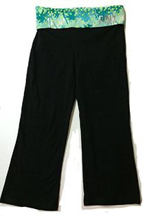 Victorias Secret PINK Yoga Capri Pants Palm Tree Studded XS BlackTeal