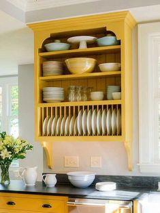 Yellow kitchen will be so much attractive for any home design whether big or small. So, here are some yellow kitchen ideas for designing your kitchen room. Kitchen Corner, Kitchen Shelves, New Kitchen, Kitchen Storage, Kitchen Decor, Kitchen Ideas, Kitchen Sink, Plate Racks In Kitchen, Kitchen Organization
