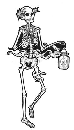 In Search Of Rest Pen And Ink Illustration PRINT Skeleton With Smokey Lantern Necklaces Snake Tattoo Various Sizes Available