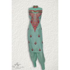 Elegant sea green suit adorn in thread work-mohans-the chic window