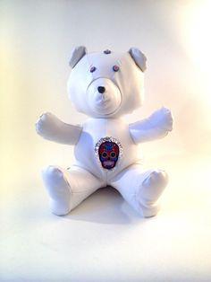 BAKALAR Bear  Handmade Plush  White leatherette par KarPatCreations