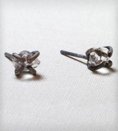Oxidized Silver Herkimer Diamond Stud Earrings by Gunnard Jewelry on Scoutmob Shoppe. A pretty pair of oxidized sterling silver earrings with a high-grade herkimer diamond.