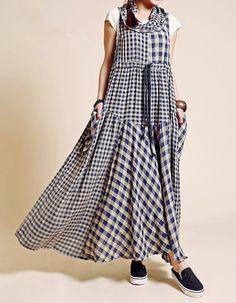 Cotton and linen cloth/Linen Dress/Maxi Dress/Blouse/ Dress/Plaid cotton sleeveless vest skirt waist loose branches hedging