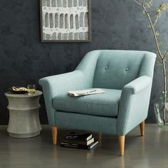 West Elm, Finn Armchair in Solids/ Heathered Weave in Eucalyptus, $700 on sale for $600