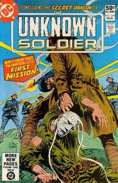 comic Unknown Soldier 249 F 1981 Bullet Character, Comic Character, Dc Comic Books, Comic Book Covers, Joe Kubert, Horror, Unknown Soldier, War Comics, Pulp Art