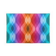 Colorful rainbow waves on placemats for a bright dining experience
