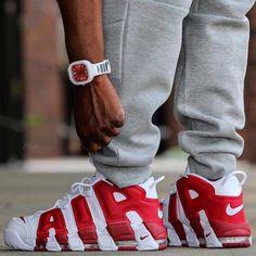 """SHOP: Nike Air More Uptempo """"Gym Red"""" at kickbackzny.com."""