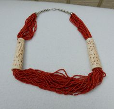 Unique multi strand red necklace with hand carved bones by Framarines on Etsy