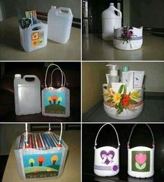 Recycle plastic jugs and make bins for craft projects or storage. Plastic Jugs, Plastic Bottle Crafts, Recycle Plastic Bottles, Plastic Recycling, Recycling Containers, Recycling Ideas, Empty Bottles, Reuse Plastic Containers, Food Containers