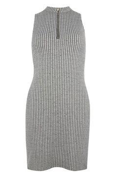 Grey Zip Front Rib Mini Dress