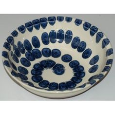 "bowl 30 cm ""blue drops"" handmade by Tinos Ceramics, lead free Terracotta Paint, Lead Free, Ceramic Art, Pottery, Plates, Ceramics, Tableware, Handmade, Blue"