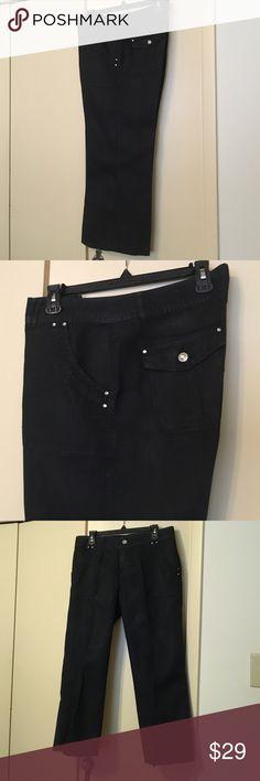 INC Linen Black Capri Pants Long Capri pants - black linen with cut buttons in a size 12 - Nice !!! INC International Concepts Pants Capris