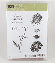 NEW Retired Stampin Up Clear Mount FIELD FLOWERS with Love Spring Summer Nature…