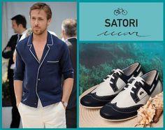 Zapatillas confeccionadas en cuero color blanco y azul, su diseño; un mix entre un modelo náutico y el típico zapato de vestir, puntera: BROGUE. Colección SATORI MAR VERANO 2012. Nombre: LAURENS.