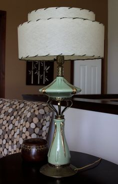 Mid Century Modern Lamp with Fiberglass Shade by concealedjewel