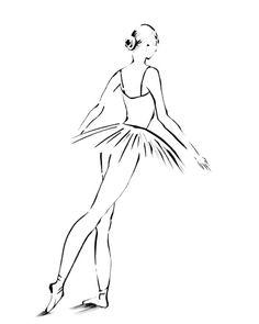 Ballerina Print, Ink Drawing Art Print, Minimalist Ballet Wall Art, Black and White Drawing