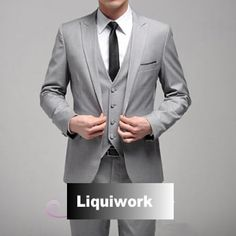 4 Piece Mens Gray Grey Wedding Business Prom Formal Dress Suits Clothing SKU-123122