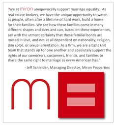 Marriage Equality. We support.