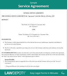 Service Agreement Sample