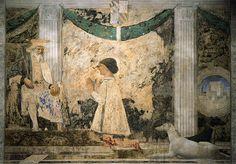 Piero della Francesca's fresco in the Tempio Malatestiano - Sigismondo Pandolfo Malatesta Kneeling before Saint Sigismondo