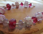 Raspberry Sorbet - Handmade Lampwork Glass Bead Colourful Pink and White Silver Artisan Necklace Raspberry Sorbet, Handmade Jewellery, Glass Beads, Etsy Seller, Artisan, Create, Silver, Pink, Color