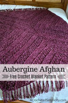Aubergine Afghan – Free Crochet Blanket Pattern – A Crocheted Simplicity Aubergine Afghan – Free Crochet Blanket Pattern – A Crocheted Simplicity,Crochet LOVE! Aubergine Afghan – Free Crochet Blanket Pattern – A Crocheted Simplicity. Basic Crochet Stitches, Afghan Crochet Patterns, Crochet Basics, Crochet Afghans, Crochet Blankets, Crochet Gratis, Knit Crochet, Crochet Humor, Crochet Mandala