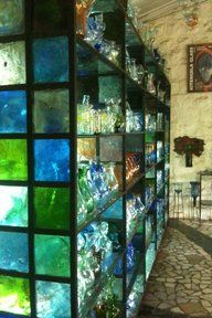 Lighted Color Glass Blocks as the framework for glass shelves...what a fantastic idea