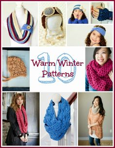 10 Free Crochet Patterns For A Warm Winter - Scarf, Headband, Hat, Fingerless Gloves, Cowl & More