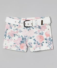 Look at this #zulilyfind! Pink & Blue Floral Shorts & Belt - Girls by Cutie's Fashions #zulilyfinds